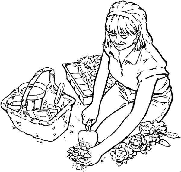 Planting Flower Seed In Gardening Coloring Pages Garden Coloring Pages Planting Flowers From Seeds Colorful Garden