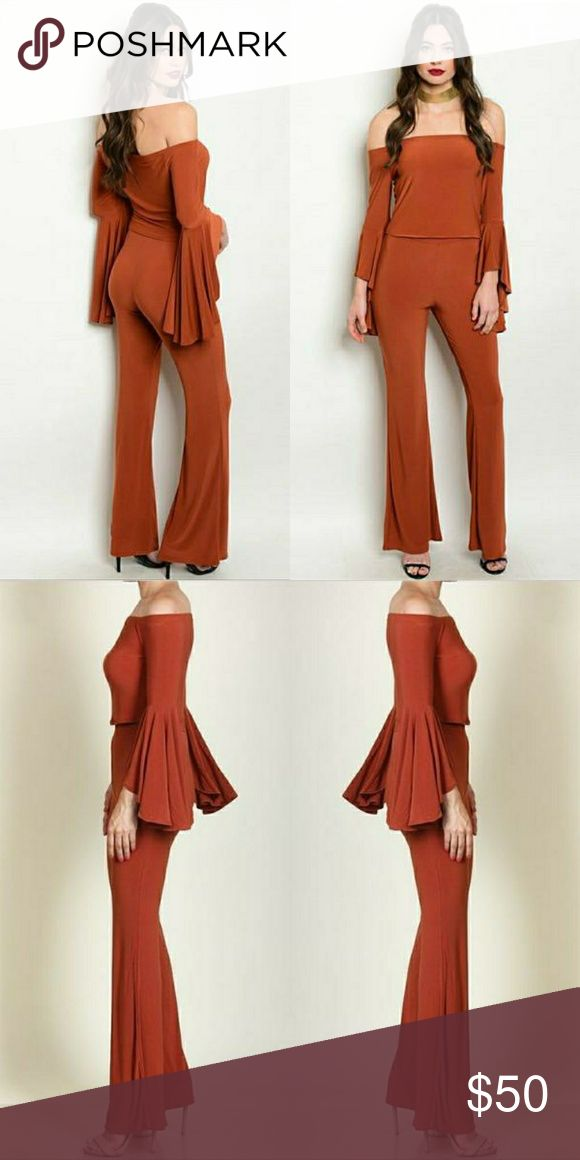 """Rust Two Piece Flared Bell Bottom Set STYLIST?PICK! Simply in LOVE with everything about the two peice set.?  FEATURES:  - Off the shoulder design - Extra long bell sleeves -?High waist flare bottom pants? - 92% Polyester 
