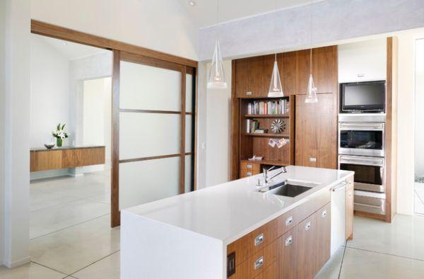 Ergonomic and organized contemporary kitchen with translucent sliding doors [ Barndoorhardware.com ] #modern #hardware #specialty
