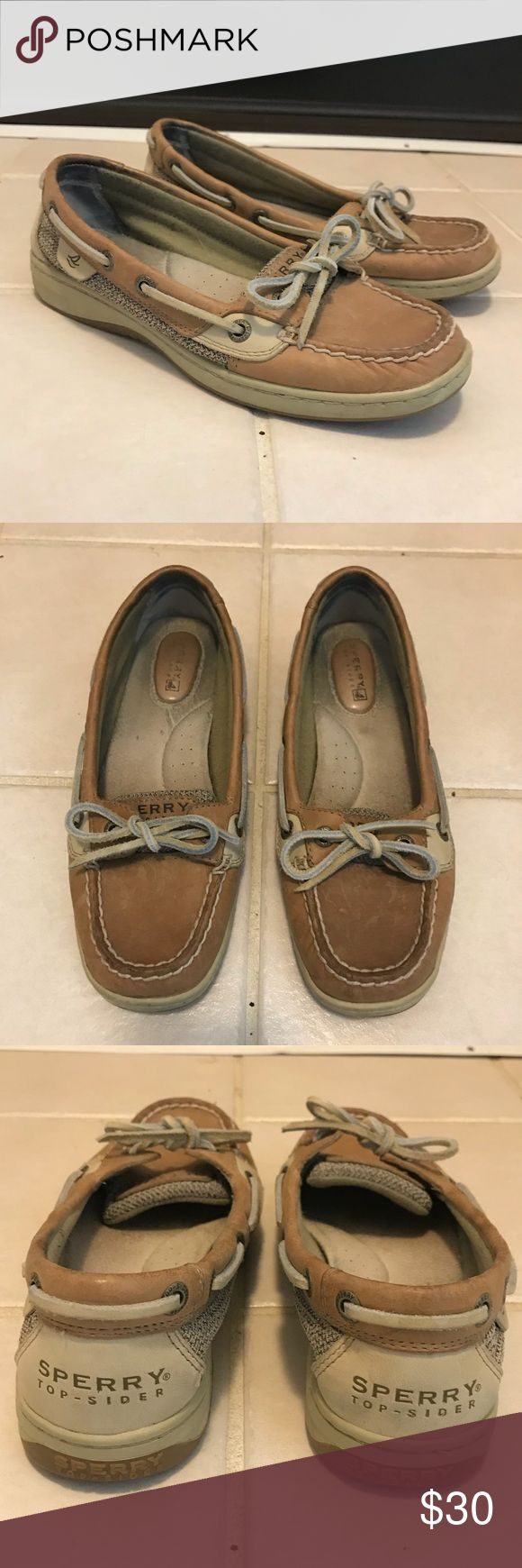 """Sperry Angelfish Boat Shoe I'm selling these """"linen oat"""" boat shoes by Sperry after wearing them a handful of times because they are too tight on me.  They're in excellent condition with wear on the inside of the shoe.  They're a size 5 and can fit 5.5-6. Sperry Top-Sider Shoes Flats & Loafers"""