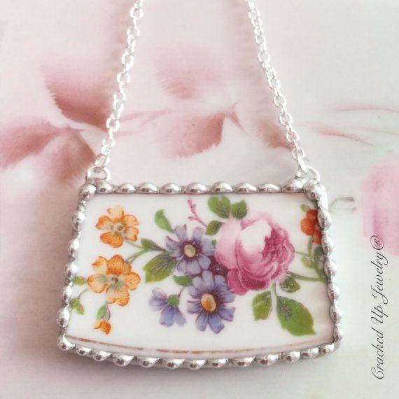 Broken China Jewelry. Broken China Necklace, Coxon Belleek China, $50.00 by CrackedUpJewelry