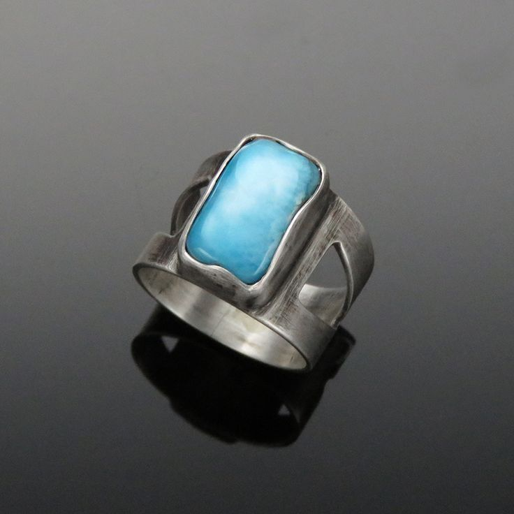 'Vivacious' Larimar and Sterling Silver Ring  Larimar is said to bring the gentle, soft, healing energy of the sea to open one's heart and mind.