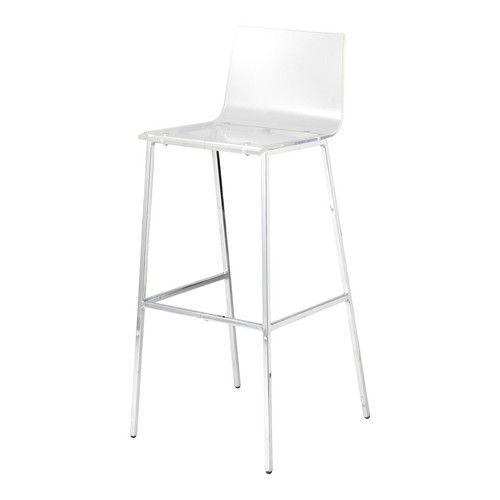 Chaise de bar en plastique acrylique et métal transparente