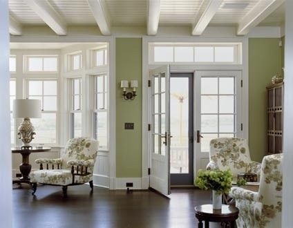 Love the dark hardwood floor accentuated by the white trim