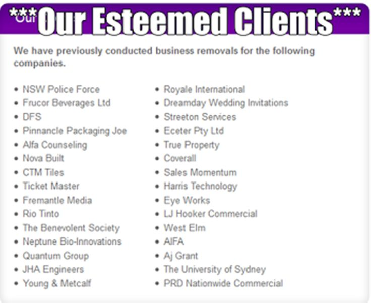 ****Our Esteemed Clients**** We have previously conducted business removals for the following companies. http://bit.ly/1PcU81C