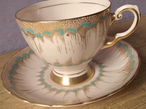 Tuscan bone china tea cup, hand painted English tea set, pink gold turquoise tea cup.