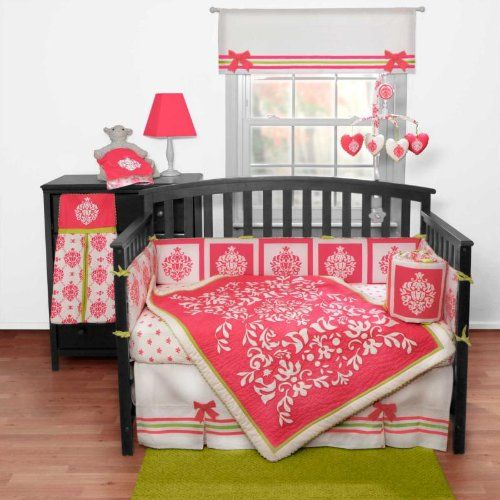 Damask Fuchsia 3 Piece Baby Crib Bedding Set By Bananafish Sets