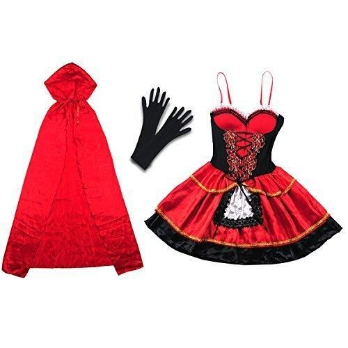 Halloween Costume Vitalismo Wench Little Hooded Cosplay Dress with Cape Glove