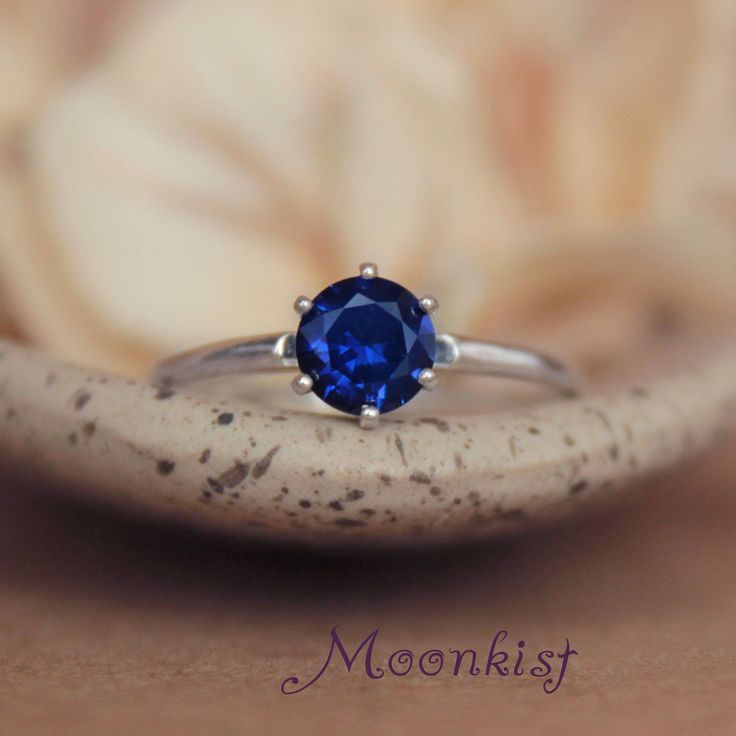 September Birthstone Ring - Classic Blue Sapphire Solitaire Engagement Ring