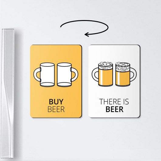 Double-sided reminder beer magnet. Its perfect beer lover gift. The first, contrast side of the fridge magnet attracts attention - there is