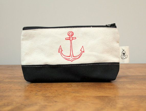 Canvas Anchor Print Zip Pouch by poisonpear on Etsy