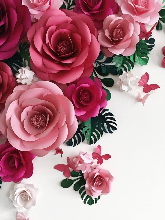 Paper Flower Backdrop – Paper Flower Arch – Paper Floral Arramgement – Paper Leaves Backdrop – Paper Butterflies