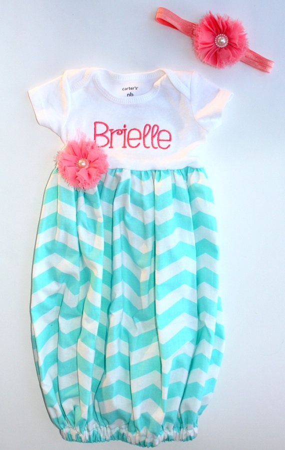 Newborn Going Home Dress - Girls Chevron Dress - T-Shirt Dress - Aqua - Coral - Big Sister Outfit - Baby Shower Gift - With Headband