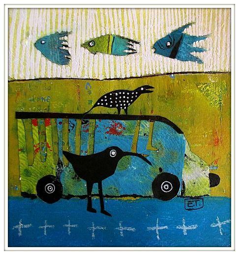 Elke Trittel acrylic,collage on paper 13x13cm