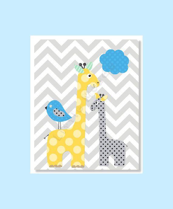 Giraffe Nursery, Grey Chevron, Yellow Grey Blue Nursery, Modern Nursery Wall Art by LittleMonde