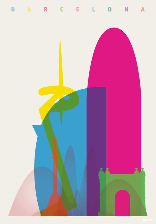 Interesting overprint of the Barcelona city scape. All of the colours together work to create a layered look.