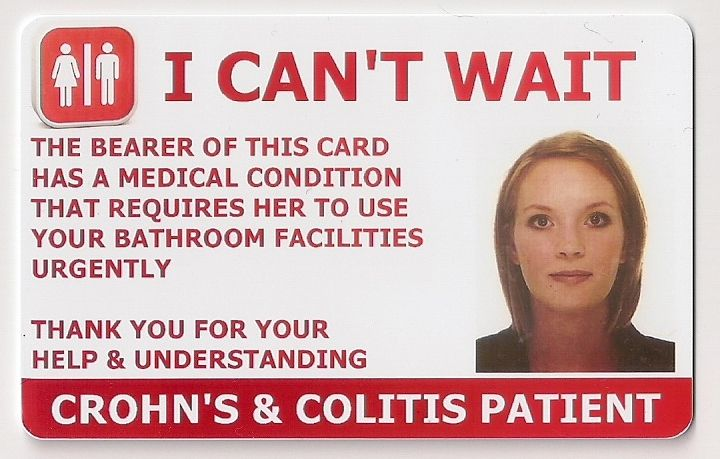 crohn 39 s colitis toilet access card in out of home health safety