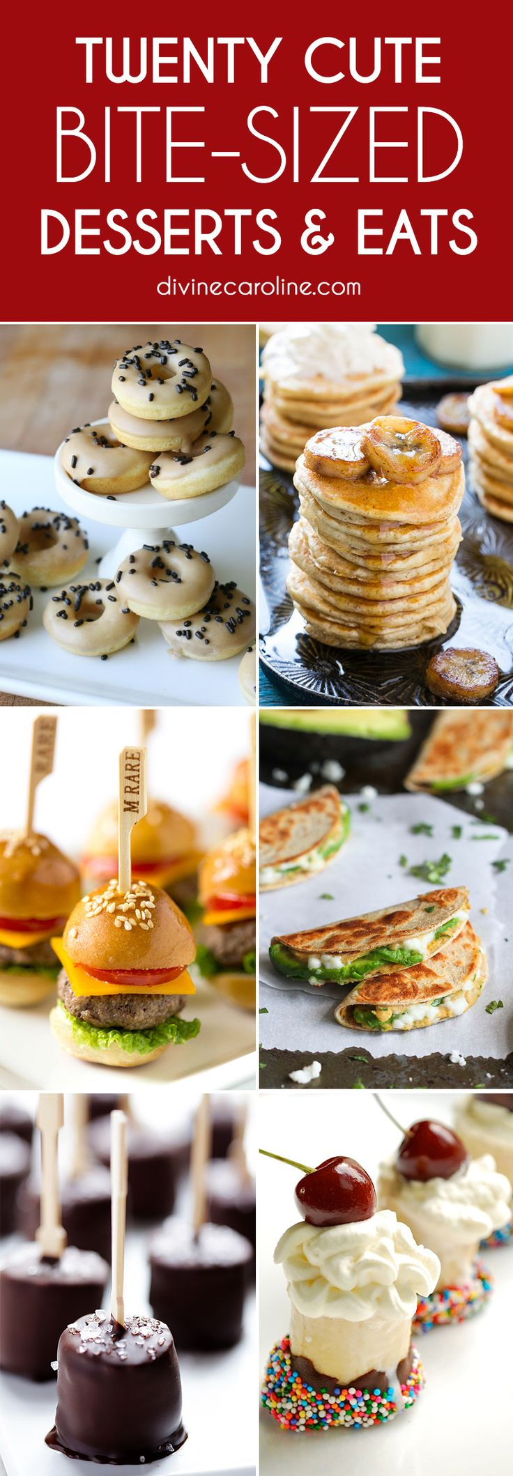 Bite-sized foods are great for parties, quick lunches, and anytime snacks. These 20 bite-sized desserts and eats will hit the spot and get your taste buds rolling. Ditch the silverware for finger foods, and enjoy!