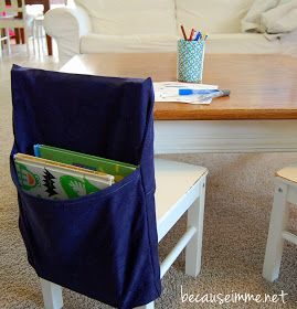 Because I'm Me: Chair Pocket / Seat Sack Tutorial - maybe for the reading table chairs