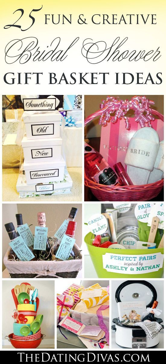 SO many fun and creative bridal shower gift basket ideas! MUST PIN! www.TheDatingDivas.com Gift basket Ideas #giftbasketideas #giftbaskets