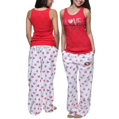 San Francisco 49ers Ladies Essence Pants and Burnout Tank Pajama Set - Red/White