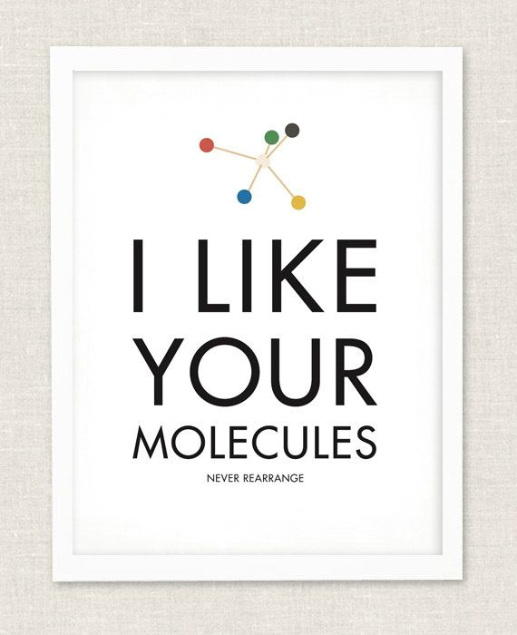I Like Your Molecules Art Print Chemistry Type Poster Love Romance Gift
