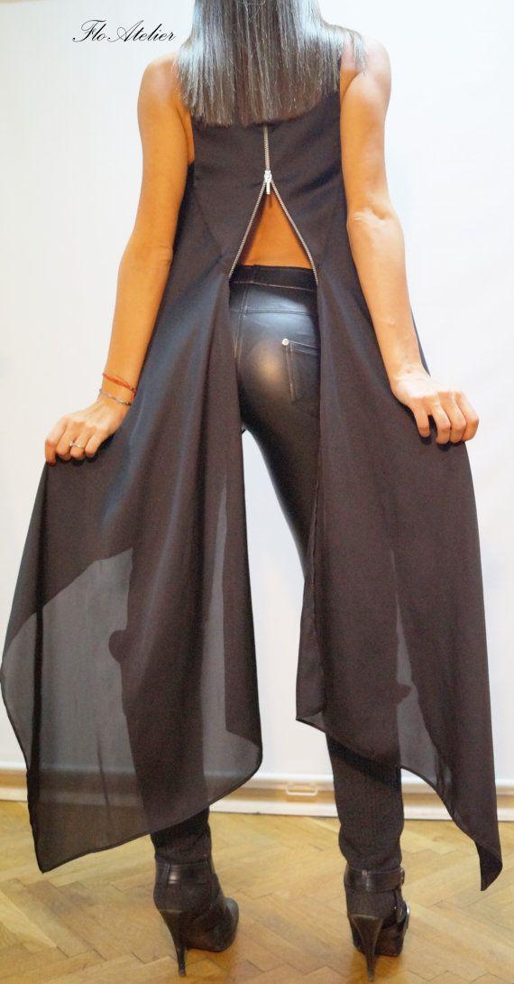Loose Black Tunic/Asymmetrical Black Tunic/Summer por FloAtelier