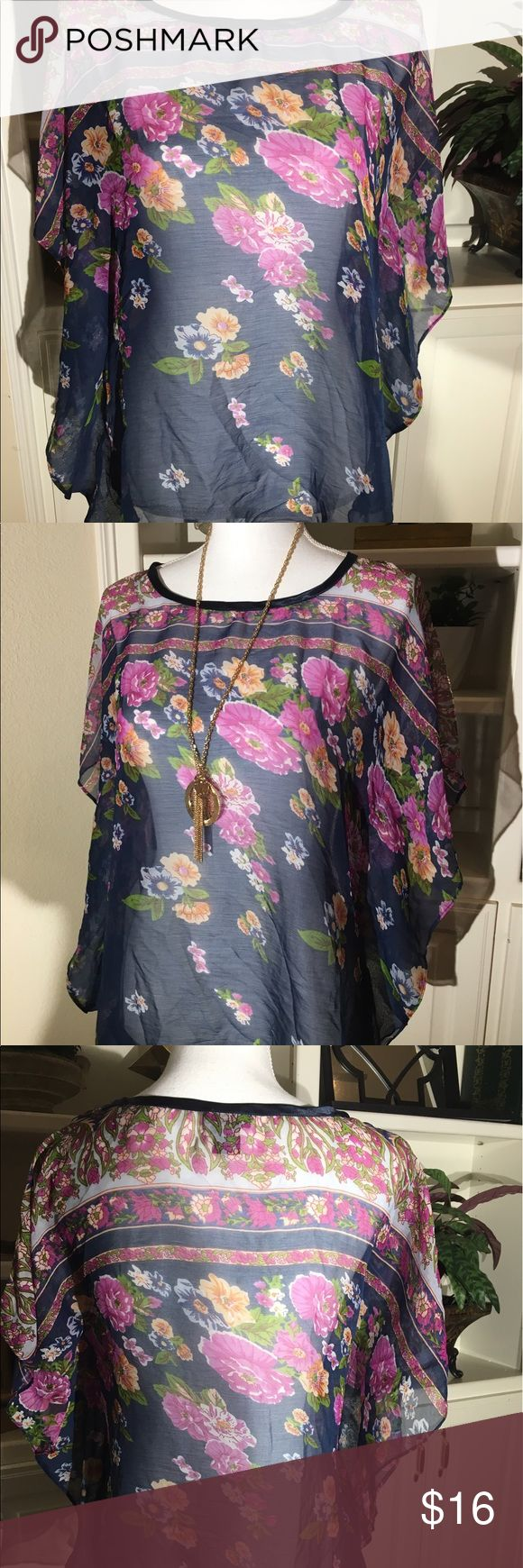 Gorgeous Sheer Floral Top Size M Sheer Floral Batwing Sleeve Top in Beautiful Colors! So summery and lightweight to keep you cool! Size Medium Rue 21 Tops Blouses