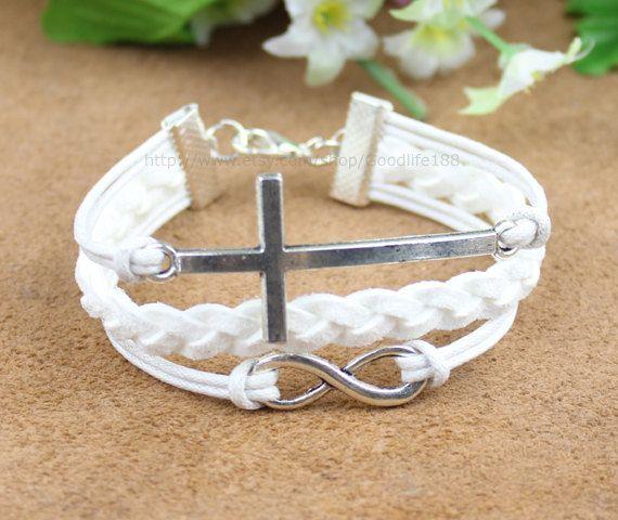 Infinity bracelet, karma bracelet, cross bracelet.gift for girl friend,boy friend. $5.99, via Etsy.