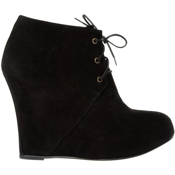 Opening Ceremony Ankle Boots ($178) ❤ liked on Polyvore featuring shoes, boots, ankle booties, buty, heels, women, heeled ankle boots, leather wedge booties, wedge bootie and lace-up wedge booties