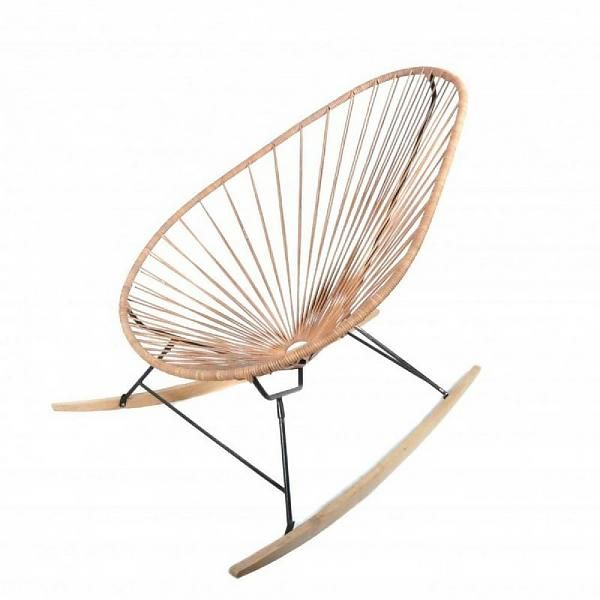 ACAPULCO Rocking Chair with Wood in Black & Leather