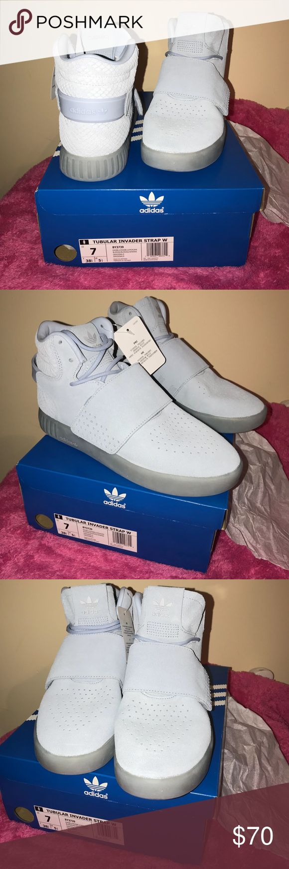 Adidas Tubular Invader Strap Women Sneakers Women's 🚺 Adidas Suede Light Blue Strap Sneakers W/ Snake skin pattern  NWT - (New With Tags)  Size: US•7             F• 38 2/3           UK• 5 1/2  🔆Size wise - fits like a 9 ‼️          Made in Vietnam 🇻🇳 adidas Shoes Sneakers