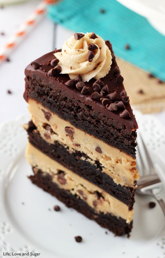 Peanut Butter Cookie Dough Brownie Layer Cake- MUST HAVE THIS!!  | Life, Love and Sugar