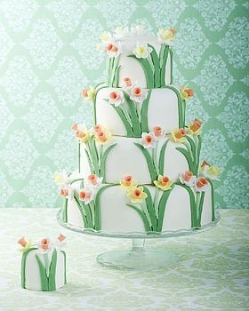 Spring Daffodil Wedding Cake by Cakes by Robin.
