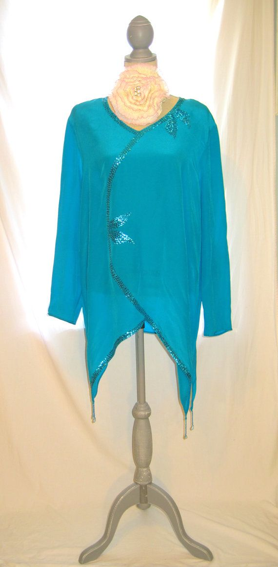 Deep Turquoise Color Sequin Beaded 2x Size Women S Blouse Tunic Made
