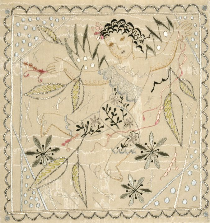 Handkerchief sachet showing a cupid dancing through flowers and leaves, by Rebecca Crompton. Machine embroidered in grey, pink and black on white silk background, 1938.