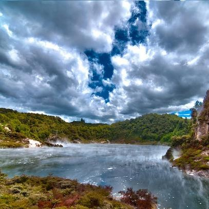 Waimangu Volcanic Valley is a feast of stunning works of mother nature.  Steaming cliff faces and striking water colours create an unspoiled vista.