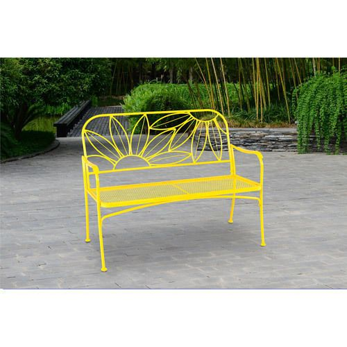 Patio garden pool bench seat cast metal outdoor yard porch for Outdoor furniture yellow