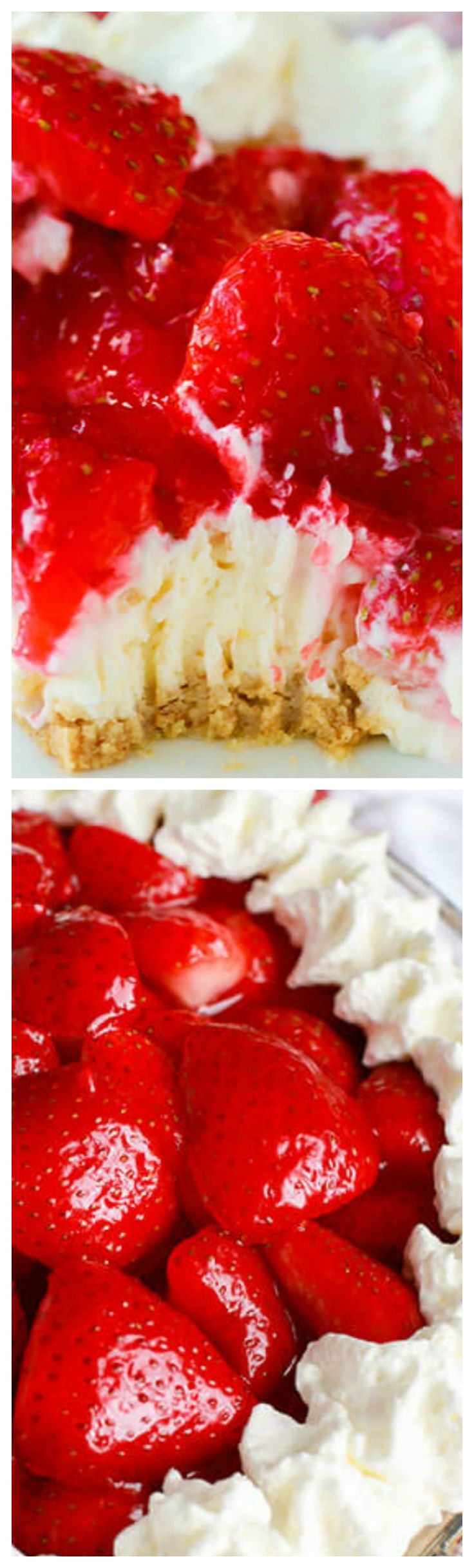 Easy Strawberry Cheesecake Pie ~ Delicious NO BAKE summer desserts... Rich and creamy cheesecake is topped with glazed fresh summer strawberries and a hint of lemon.