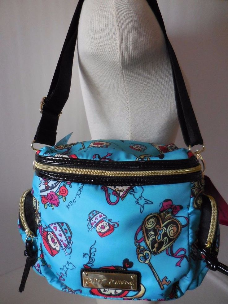 Betsey Johnson Tea Time Cargo Insulated Lunch Tote Bag Purse Turqoise Cups NWT #BetseyJohnson #LunchTote