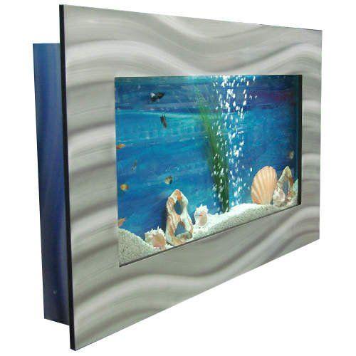 Bayshore Aquarium B1LSLVR Large Rectangular Wall Aquarium, Silver