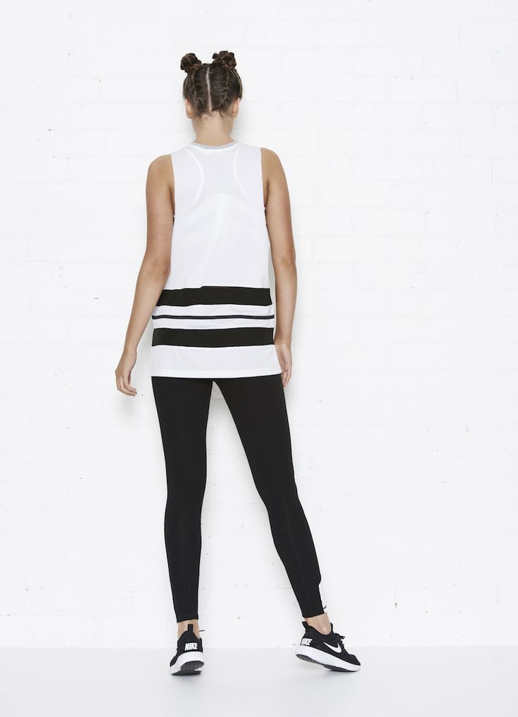 The Abbey Tank and Hayley leggings in black and white back view