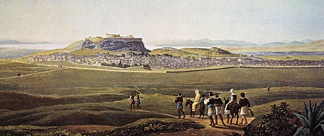 A view of the city of Athens from Lycabettus hill, painted by Edward Dodwell, ca 1805.