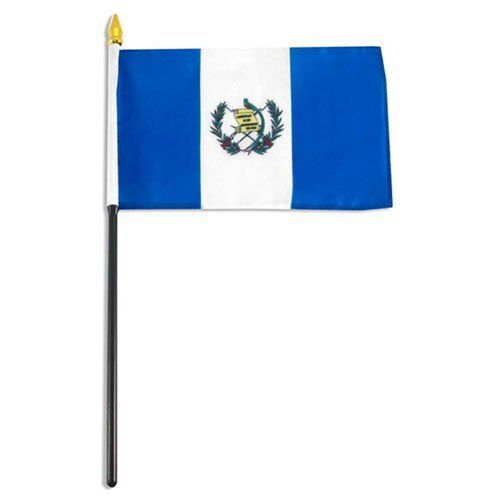 """Guatemala Flag 4 x 6 inch by US Flag Store. $1.80. Mounted on a 10 inch plastic stick. Sewn around the edges. Made from polyester and printed in bright colors. 4 inch x 6 inch flag. Guatemala stick flag 4 inch x 6 inch, Mounted on a 10"""" Plastic Stick. Flag is made from polyester and printed in bright colors to make an attractive flag. Each flag is individually sewn around the edges."""