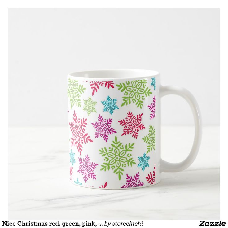 Nice Christmas red, green, pink, blue snowflakes