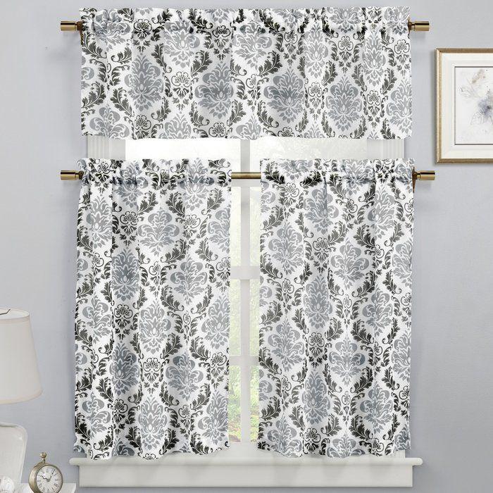 Loradine 3 Piece Faux Linen Kitchen Curtain Set