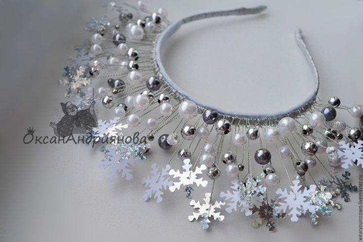 Купить Новогодний ободок со снежинками в Серебре.Диадема снежная королева. - серебряный, белый, ободок