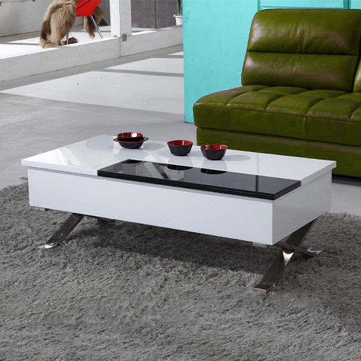 Bn Design High Gloss Coffee Table White Black Modern With Storage With Drawers Drawers