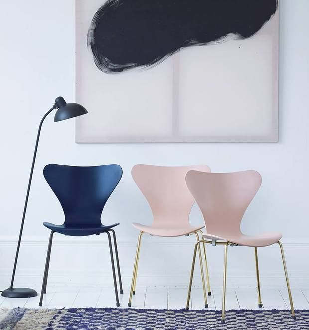 Series 7 chair anniversary edition 2016 by Arne Jacobsen and Kaiser idell floor lamp by Christian Dell from Fritz Hansen