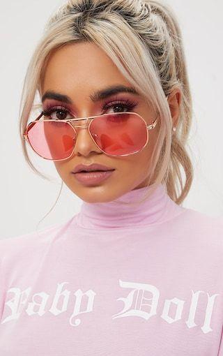be3022377e4 Pink Metal Frame Retro Aviator Sunglasses